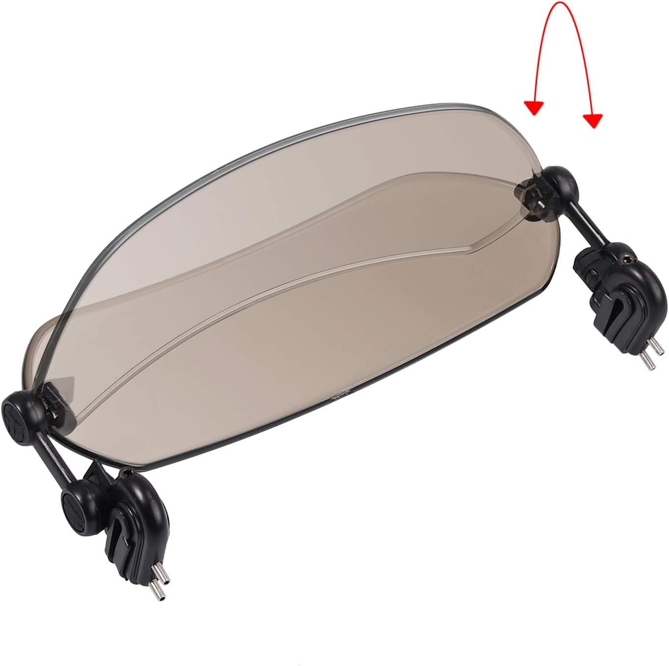 Justech Pare-brise D/éflecteur de Moto Universel Clip Ajustable sur D/éflecteur de Vent Aileron dExtension de Pare-brise pour Courses Moto V/élo Scooter Quad Cruiser-Fum/é