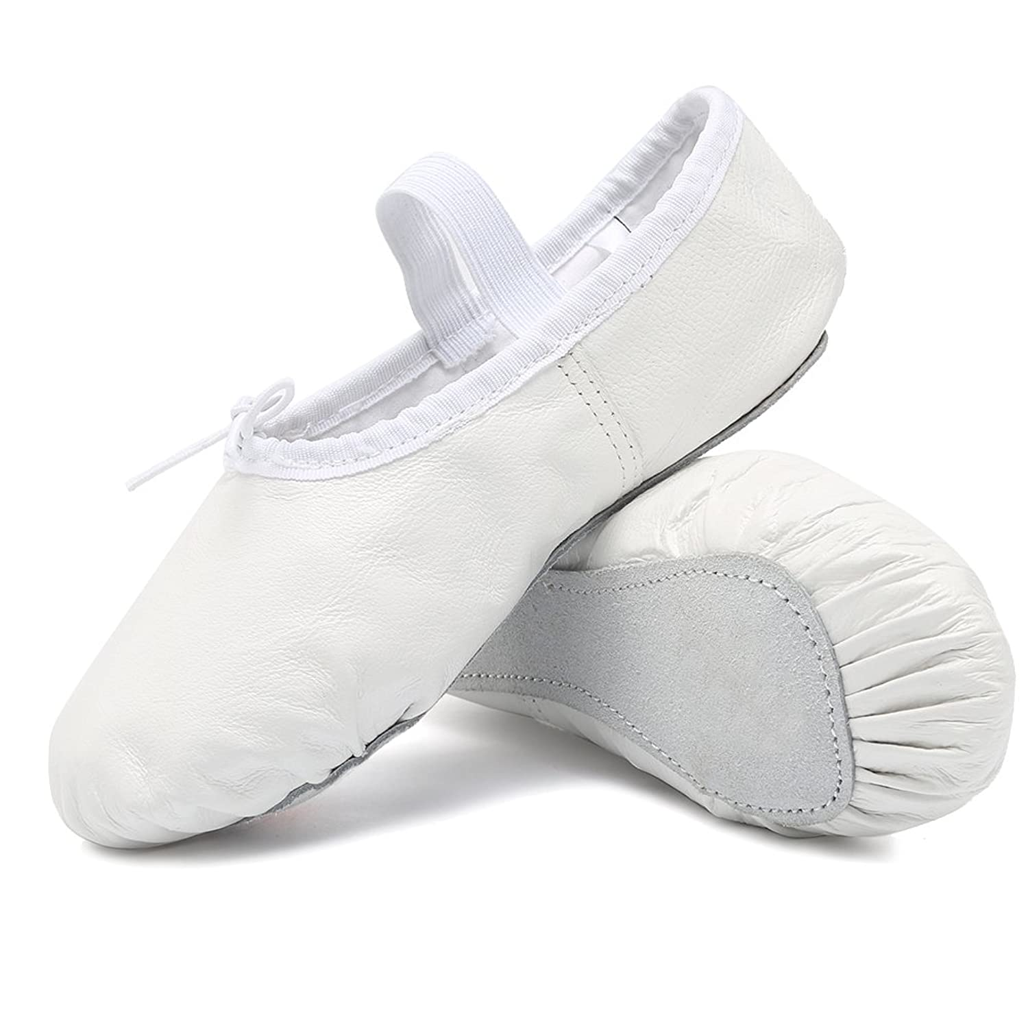 CIOR Premium Leather Ballet Shoes for Girls Classic Dance Gymnastics Yoga Slippers Flats(Toddler/Little Kid/Big Kid/Women)