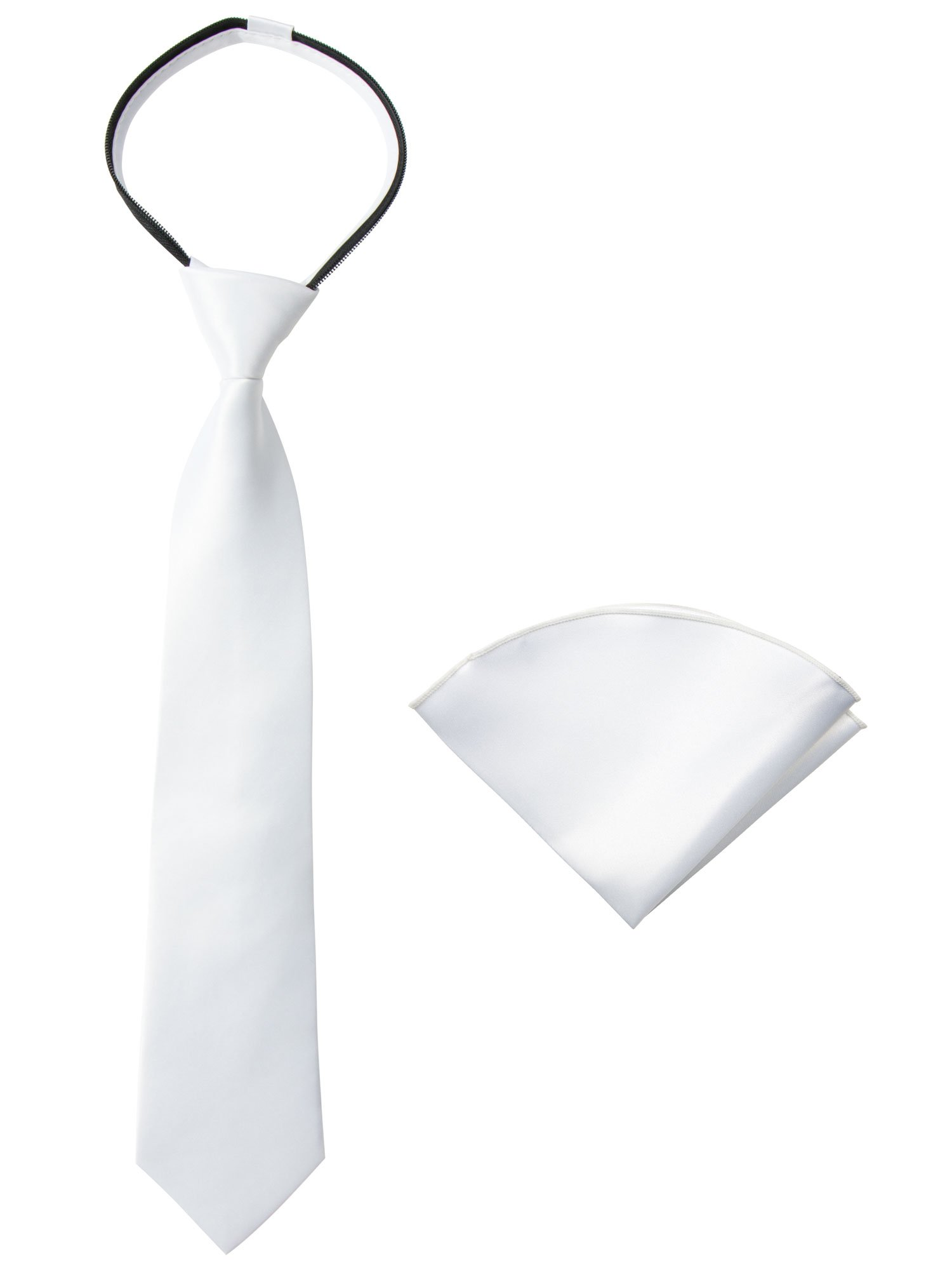 Spring Notion Boys' Satin Zipper Necktie and Handkerchief Set Large White