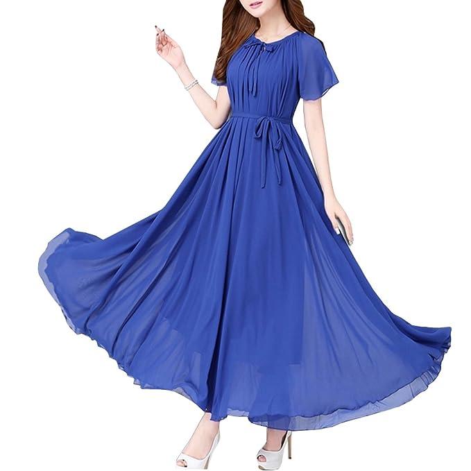 KAXIDY Elegante Vestidos Mujer Vestidos de Noche Vestidos de Cóctel Vestido Largo con Cinturón (Azul