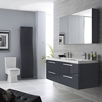 hudson reed quartet 1440mm bathroom vanity unit basin sink and mirror cabinet in high gloss grey