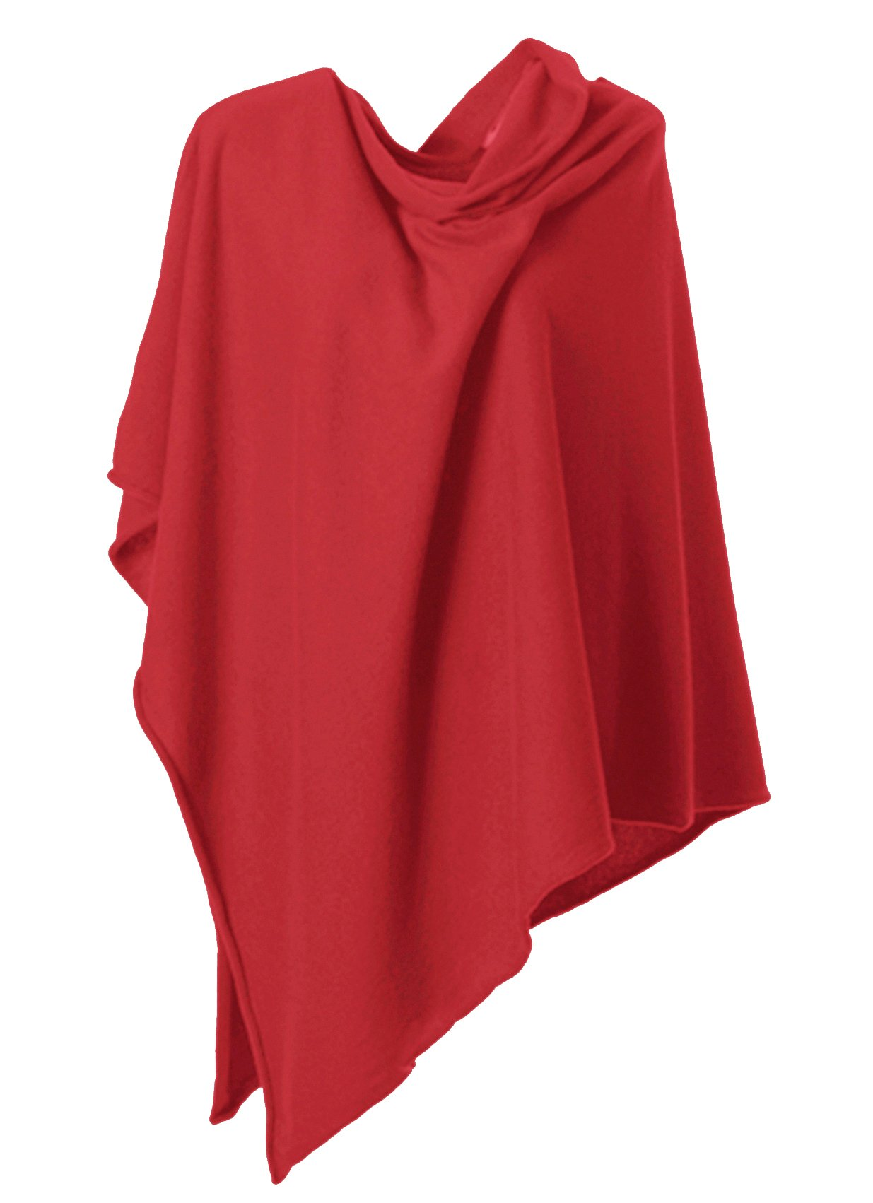 Anna Kristine Asymmetrical 100% Cashmere Draped Poncho Topper - Classic Red by Anna Kristine