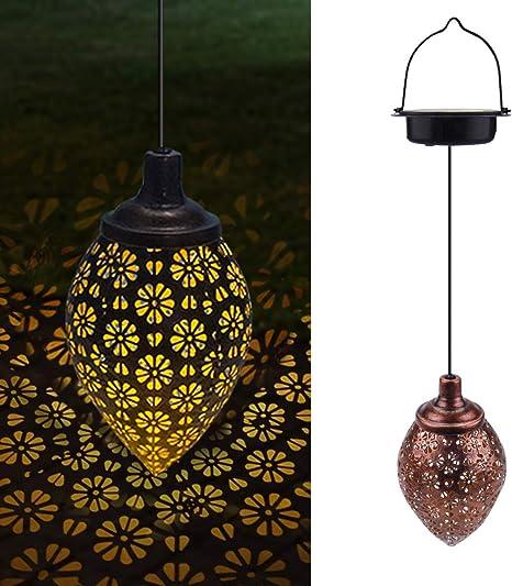 Solar LED Laterne Hängeleuchte Patio Garten Dekor Lampe im Freien