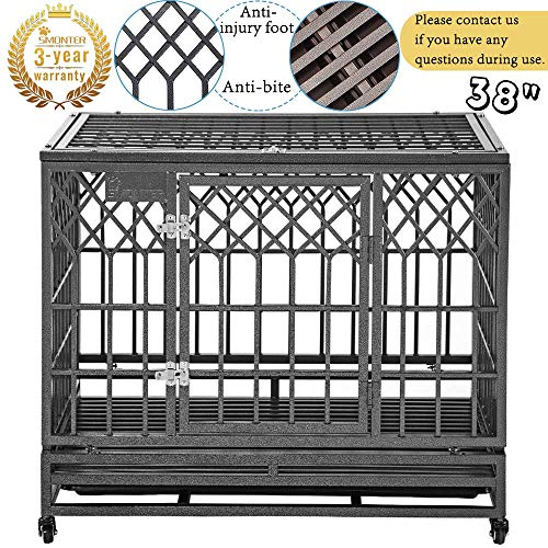 SMONTER Heavy Duty Dog Cage for Large Dog Strong Metal Kennel and Crate Pet Playpen with Three Doors, Four Wheels,38 Inch,Y Shape,Silver ... ... ... ()