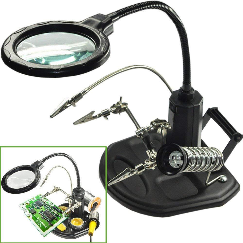 Estación de lupa con luz LED - FEITA 2.5X / 4X Soporte de soldadura iluminado y esponja Base de lupa de base pesada con pinza y pinzas de cocodrilo para soldadura, reparación, taller, afición