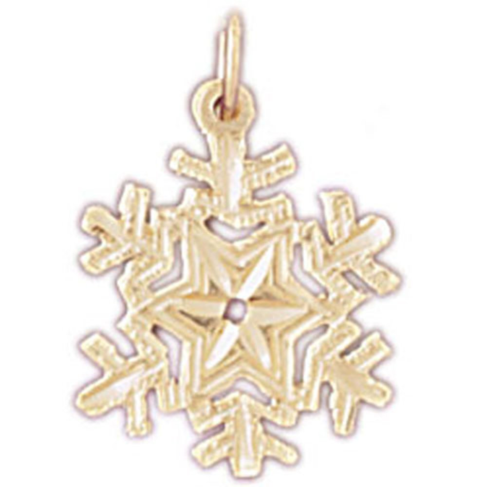 20 mm Jewels Obsession 14K Yellow Gold Snow Flake Pendant