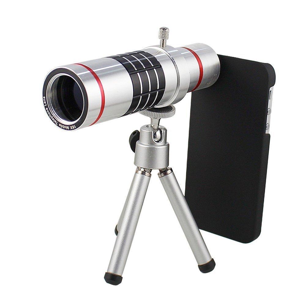 Shopping_Shop2000® 18x Zoom Aluminum Universal Manual Focus Telephoto Telescope Phone Camera Lens Kit + Mini Tripod + Case For iPhone 6 Plus (5.5'') (iphone 6 Plus 18x Silver)
