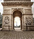 Photography Backdrop 8x10 Vintage Yellow Triumphal Arch with Eiffel Tower Photo Background Cloth Seamless No Wrinkle Wedding Photo Booth Prop