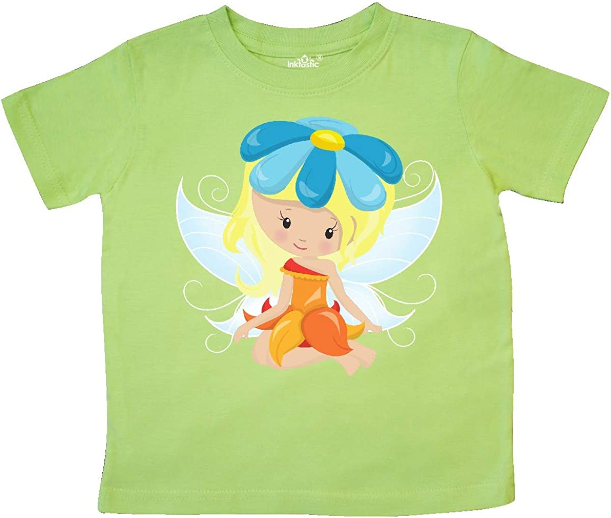 Blonde Hair inktastic Cute Fairy Fairy with Blue Flower Toddler T-Shirt