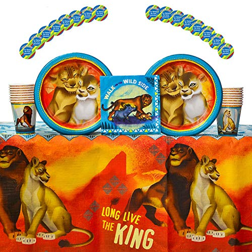 Lion King Party Supplies for 16 Guests | 16 Stickers, 16 Dinner Plates, 16 Lunch Napkins, 16 Paper Cups, and 1 Table Cover | Your Little Cub will Love These Lion King Birthday Decorations! -