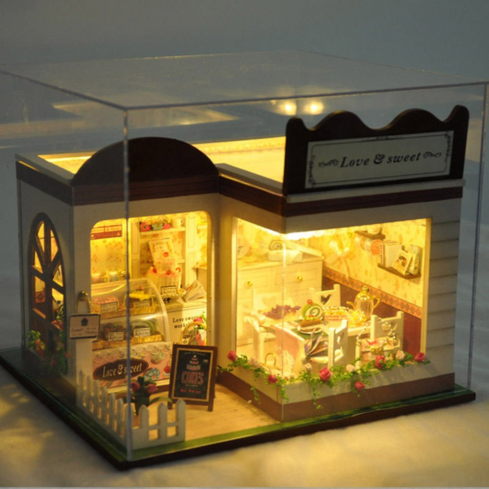 XENO-Lovely Sweet Cake Store Miniature Doll House DIY Handmade Craft Girls Toys GIFT