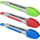 HINMAY Small Tongs with Silicone Tips 7-Inch Mini Serving Tongs, Set of 3 (Red Blue Green)