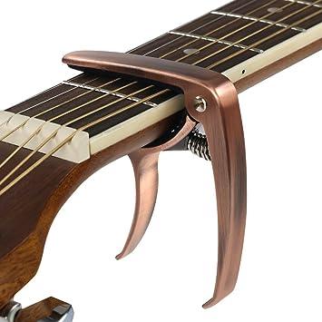 JRing Cejilla Guitarra para Guitarra Acústica, Eléctrica, Ukelele, Banjo y Mandolina, a Una Sola Mano, Cambio Rápido (Aleación de Zinc, Bronce): Amazon.es: ...