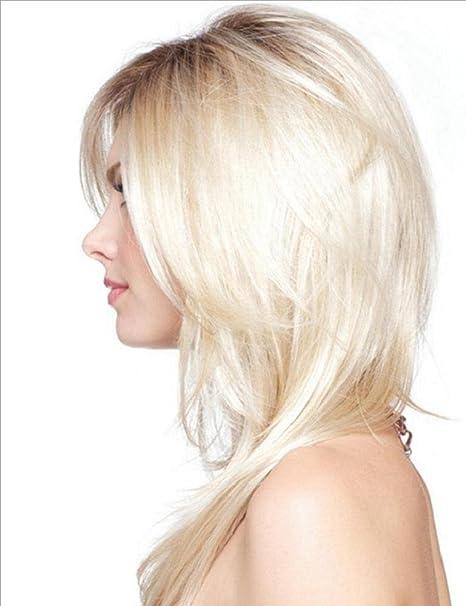 Long Ombre peluca rubia Natural recto Parting raices oscuras Cosplay peluca completa de alta temperatura de fibra de pelo para las mujeres Señora: ...