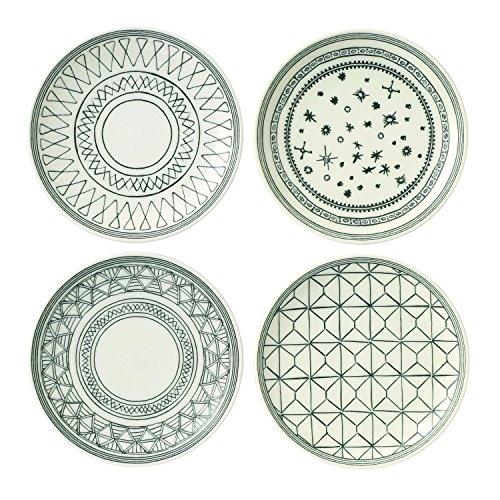 Royal Doulton Gift Set Ellen Degeneres Charcoal Grey Accent Plate 16cm Set of 4, Multi