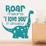 Roar Means I Love You In Dinosaur Nursery Wall Decal Kids Wall Mural Vinyl Love Wall Decal Sticker Children Room Art Decor Teal