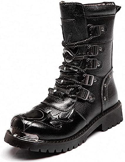 Tebapi Mens Backpacking Boots Shoes Men Buckle Lace up High Combat Boots Fashion Mens Shoes British Metal Military Motorcycle Boots