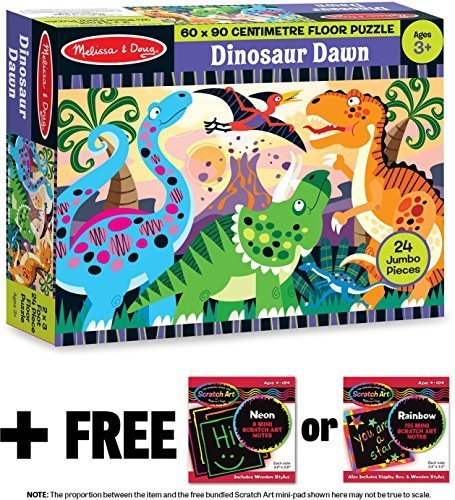 Dinosaur Dawn: 24-Piece Floor Puzzle + FREE Melissa & Doug Scratch Art Mini-Pad Bundle [44257] (Dinosaur Dawn Floor Puzzle)