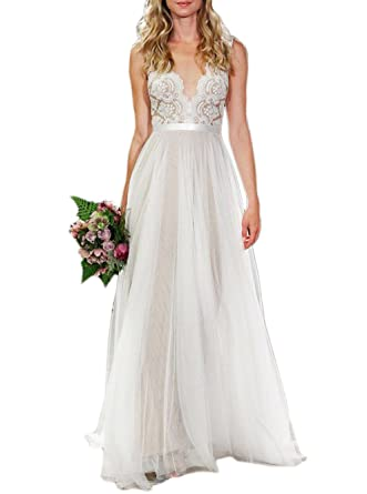 Ikerenwedding Womens V Neck A Line Lace Tulle Long Beach Wedding Dresses For Bride