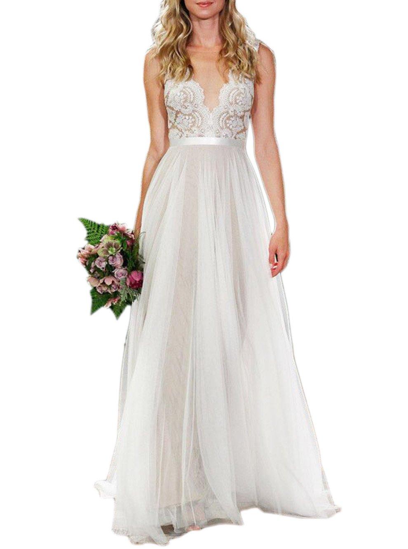 Ikerenwedding Women's V-neck A-line Lace Tulle Long Beach Wedding Dresses for Bride Ivory US2