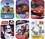 6 Collectible Boy Puzzle Tins Marvel Spiderman Cardinal 24 50 Pieces Ages 5+ 6+ Cars Lightning McQueen, Paw Patrol, PJ Masks, Minions, Star Wars Storm Trooper, Spiderman Bundle Gift Set