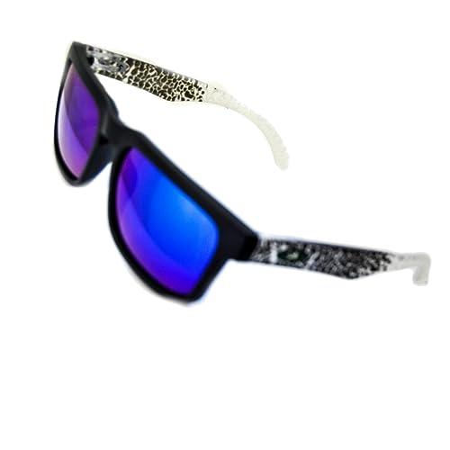 IRIS GLASS Gafas de sol Tipo OAKLEY con Cristales de Espejo de alta calidad, Armadura bicolor transparente de Policarbonato, Proteccion solar AV-400