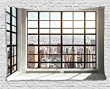 Ambesonne Modern Decor Tapestry, Urban City View of Apartments from Square Shape Windows Photo, Wall Hanging for Bedroom Living Room Dorm, 80 W X 60 L inches, White Black and Light Brown