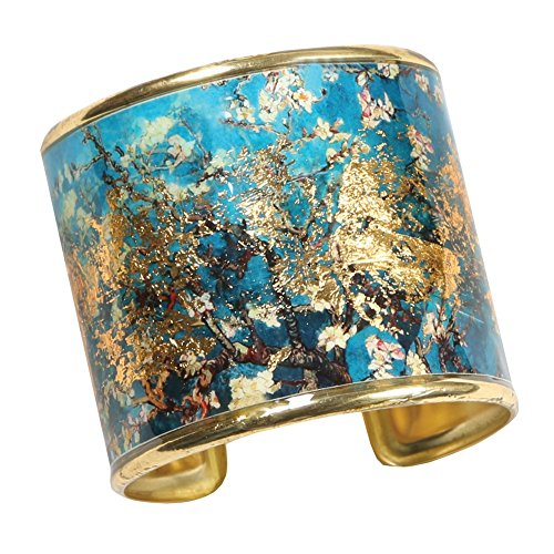 FLORIANA Women's Art Gold-Flecked Cuff Bracelet - Gustav Klimt/Vincent Van Gogh - Almonds