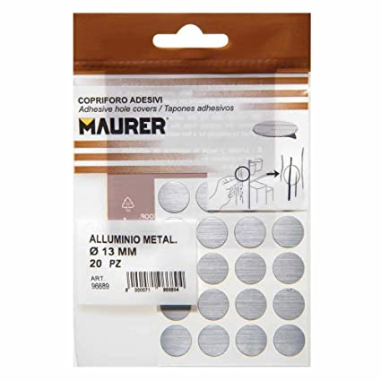 Maurer 5440128 Pack de 20 tapatornillos adhesivos, color gris metalizado