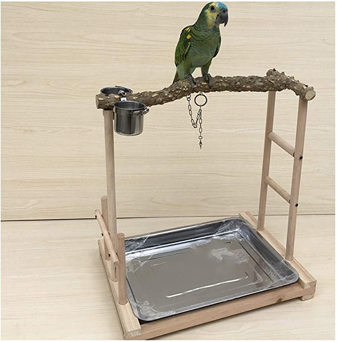 Soporte De Madera Maciza de Loro, Pájaro Perca Plataforma Soporte Madera Escalera de Corralito con Copas de Alimentación Juguetes Ejercicio Jugar para Periquito de Loro de Animales Pequeños,M: Amazon.es: Hogar