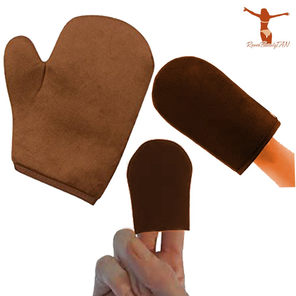Reneetan 3 Packs Self Tan Mitt Sunless Tan Gloves Applicator Face Mitts for Self Tanner