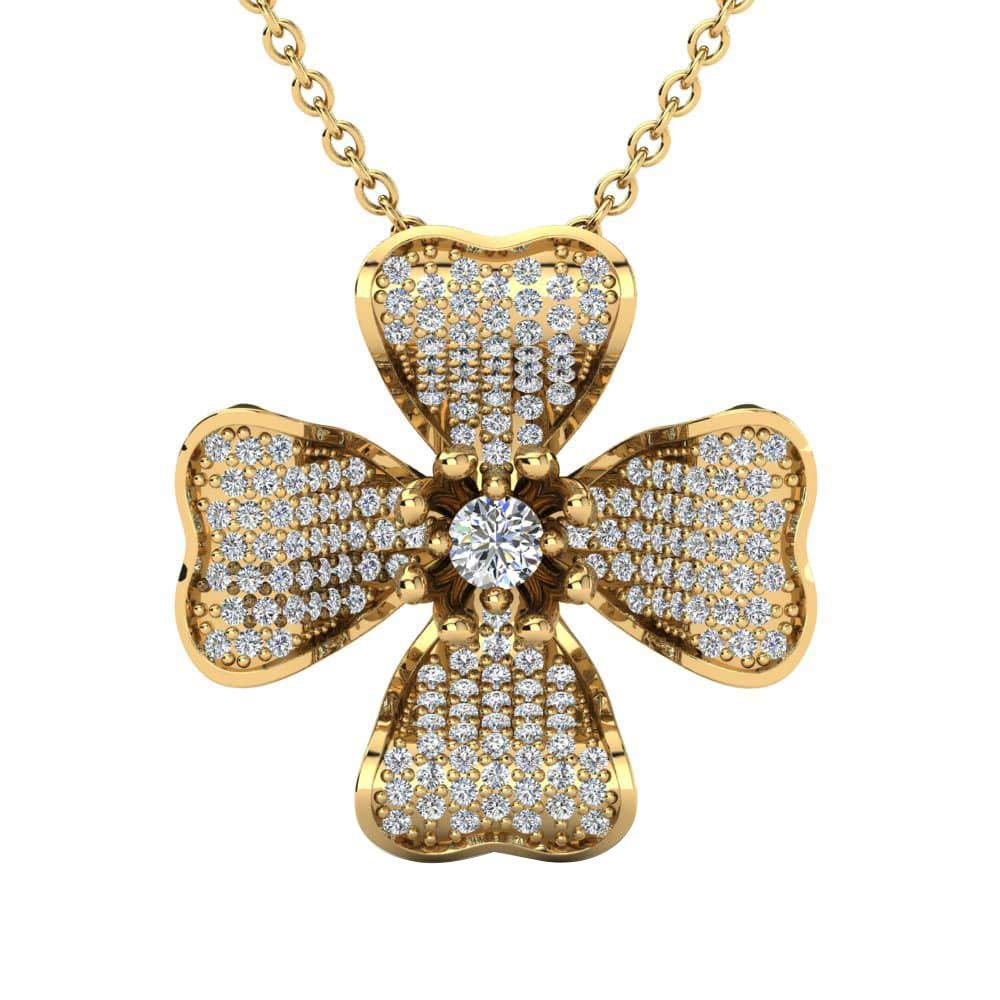 Dividiamonds 14K Gold Plated .925 Sterling 0.1 Ct Simulated Diamond Colgante Squamish Pendant W//18 Chain