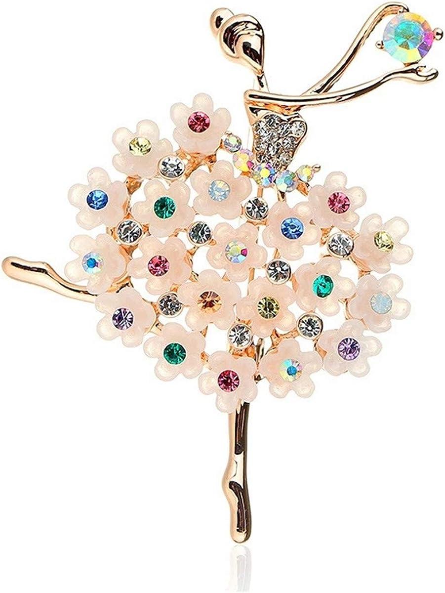 Ballet Girl Pin Crystal Wedding Bouquet for Women Girl Mrsrui Rhinestone Brooches