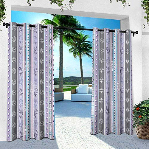 Hengshu Modern, Outdoor Blackout Curtains,Season Theme Violet Light Blue White Borders Geometrical Swirls Work of Art Print, W108 x L108 Inch, Multicolor