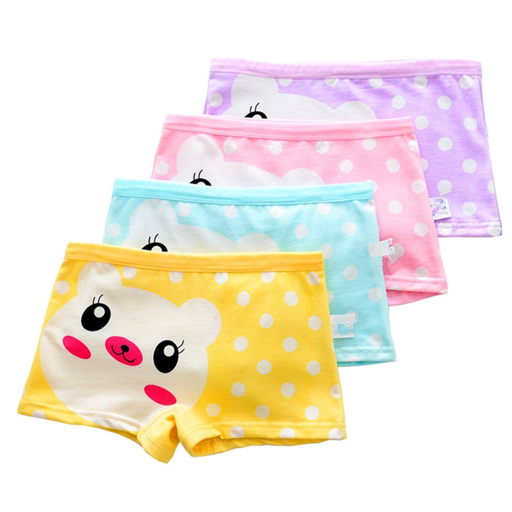 Adiasen Little Girl's 4-Packs Underwear Boxer Hipster Knickers Briefs cotton