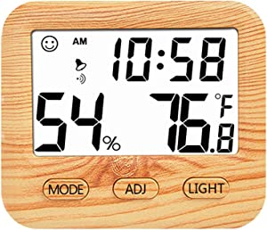 Digital Hygrometer Indoor Thermometer, Humidity Gauge Indicator Room Thermometer, Built-in Clock and Time Display,Accurate Temperature Humidity Monitor Meter for Home, Office, Greenhouse (Wooden)