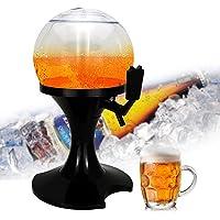 Beer Beverage Dispenser, Leegoal 3.5L Spherical Liquor Decanter Pump Dispenser Machine with Built-in Ice Container for Liquor Wine Juice Beverage Home Party Bar Tools Accessories