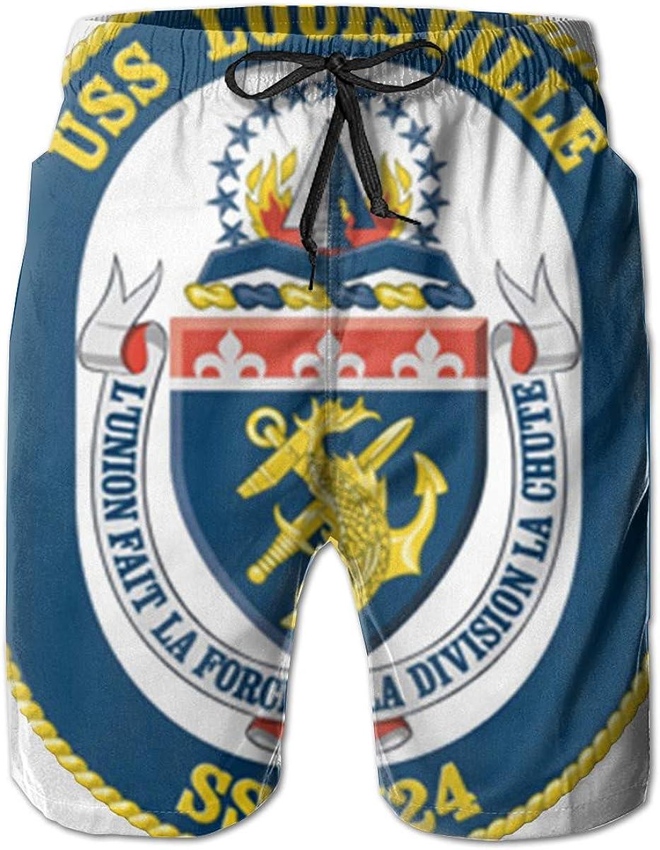 Navy USS Louisville SSN-724 Vinyl Transfer Mens Casual Classic Fit Short Summer Beach Shorts