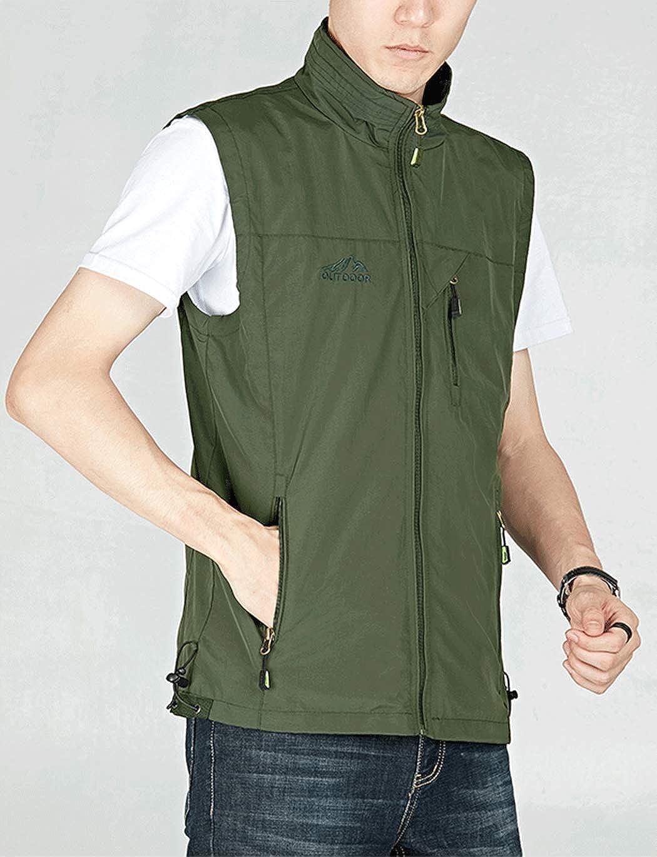 Haellun Mens Work Multi-Pockets Lightweight Outdoor Travel Fishing Photo Vest