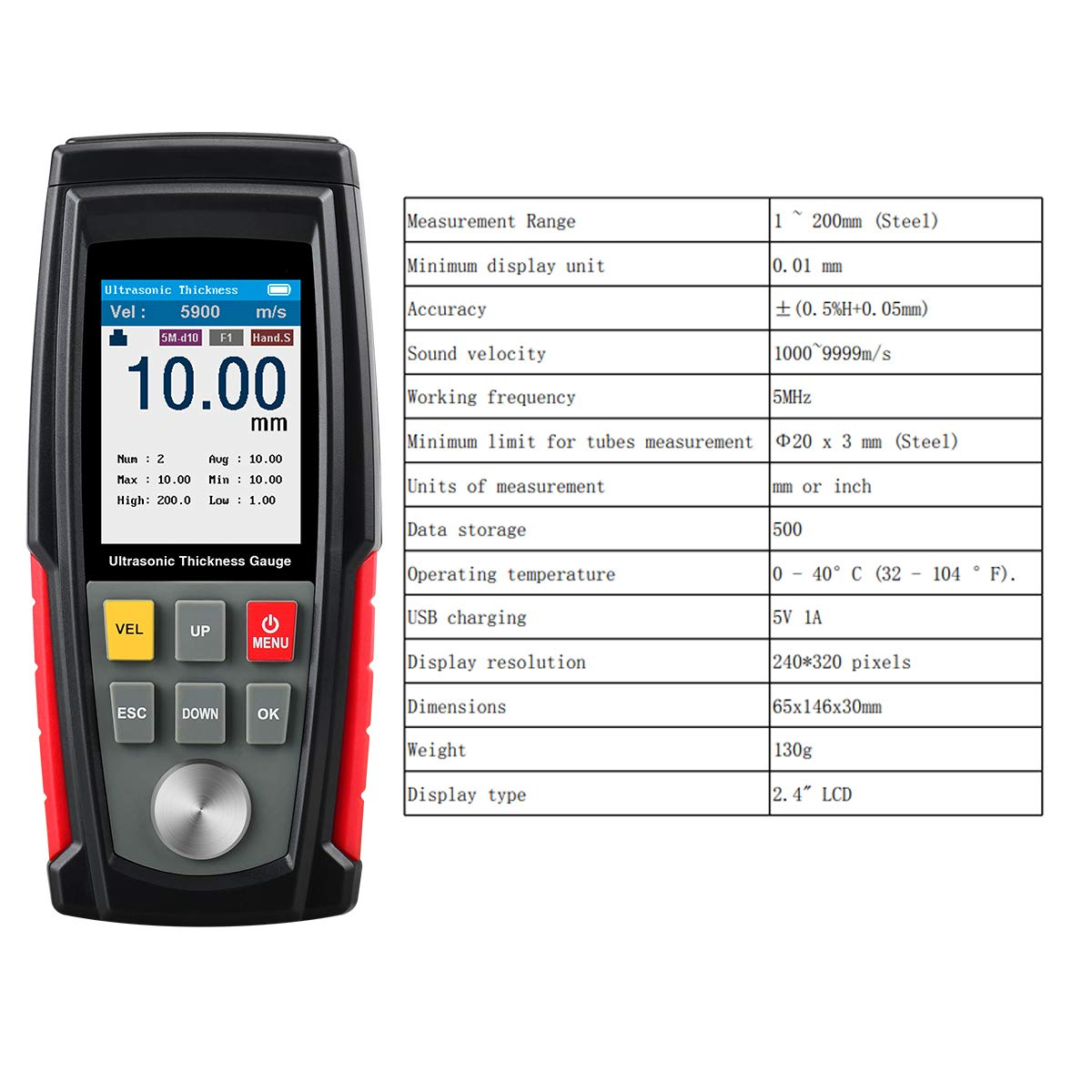 Range 1~200 mm/&0.01 mm Resolution Ultrasonic Thickness Gauge Professional Backlit LCD Display Color Screen Thickness Tester Gauge with Storage Box