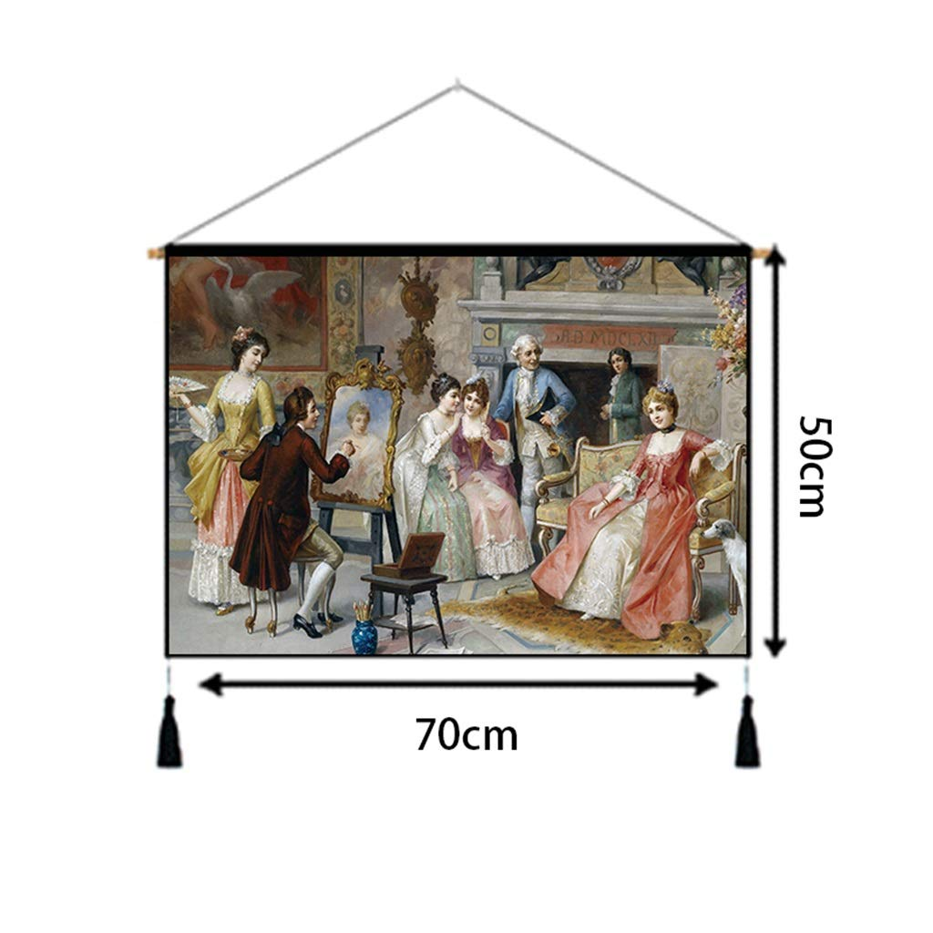 Fabric Wall Hanging Painting 丨 European and American Style Tapestry Bedroom Living Room Background Wall Corridor Decorative Wall Hanging (70CM × 50CM) Tapestry (Color : F) by HappyL