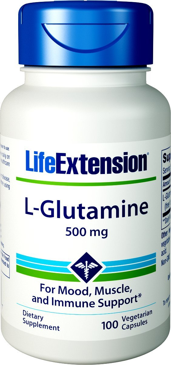 Life Extension L-Glutamine 500 mg 100 Vegetarian Capsules by Life Extension