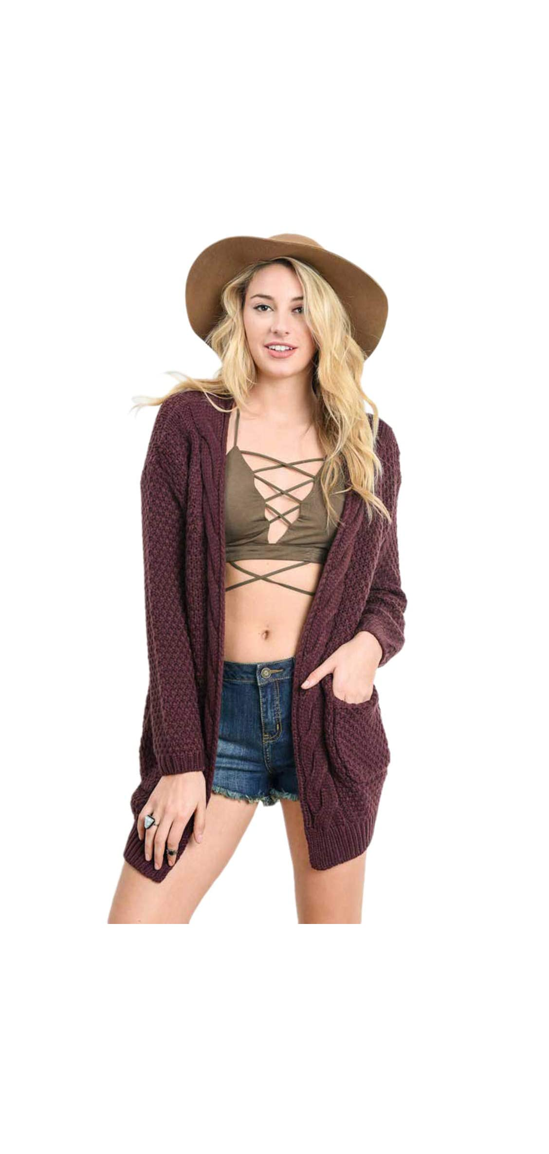 S-xl Women Cable Knit Open Front Sweater Cardigan Warm Jacket