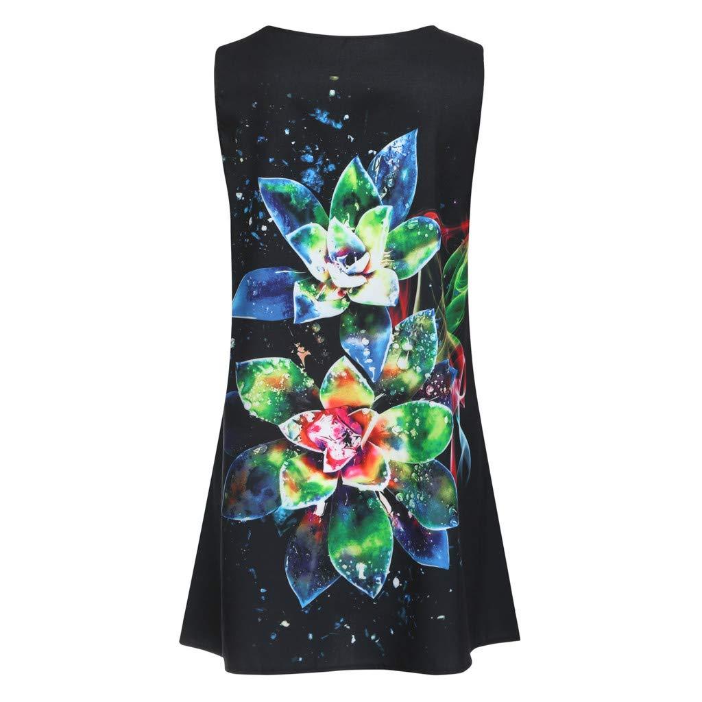 EOWEO Dress for Women Elegant,2019d Women Summer Sleveless Boho Print Casual Beach Vintage Fashion Short Mini Dress(Medium,Black) by EOWEO (Image #4)