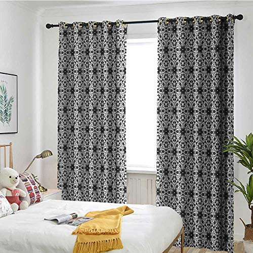 (TRTK Bedroom Curtains Curtain 2 Panel Combination Set Grey and White,Boho Style Kaleidoscopic Flower Motifs with Eastern Art Inspiration Charcoal Grey White)