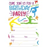 Gymnastics Birthday Party Invitations - Fill In Style (20 Count) With Envelopes