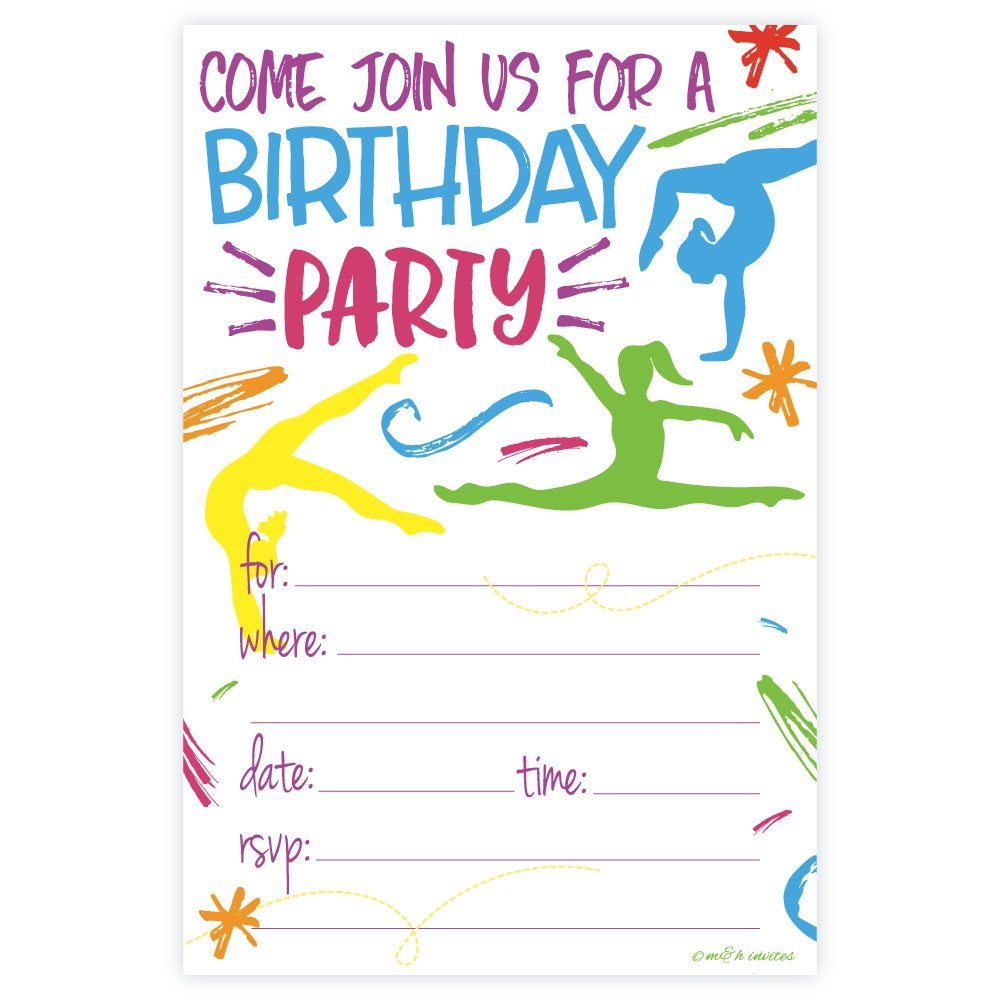 Amazon.com: Gymnastics Birthday Party Invitations - Fill In Style ...