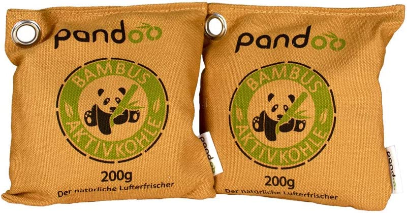 pandoo 2 x 200g Ambientador de bambú natural con carbón activado - Purificador de aire, deshumidificador, Utilizable por 2 años, libre de química y contaminantes y 100% biodegradable