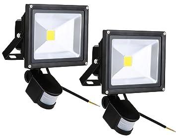 Leetop 2X 20W Blanco Cálido LED Foco Proyector Luz, Foco proyector con Iluminación LED y PIR Sensor de Movimiento, Waterprooff IP65