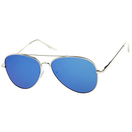 ed4b7795832c zeroUV Large Full Metal Color Mirror Teardrop Flat Lens Aviator Sunglasses